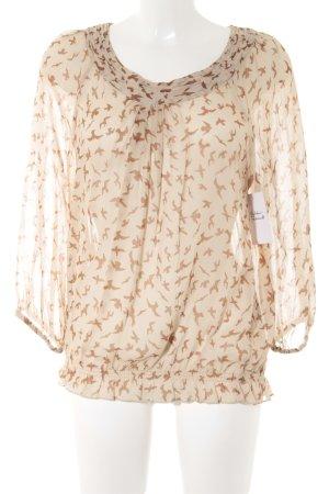 More & More Transparenz-Bluse creme-braun Animalmuster Casual-Look
