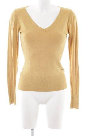 More & More Jersey con cuello de pico color oro look casual