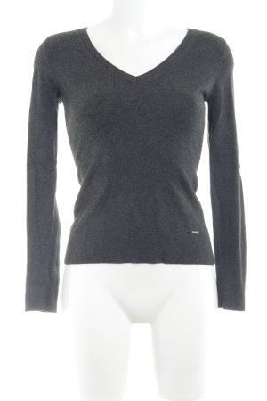 More & More V-Ausschnitt-Pullover grau meliert Casual-Look