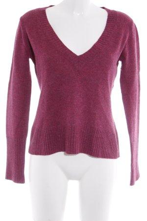 More & More V-Ausschnitt-Pullover purpur meliert Casual-Look