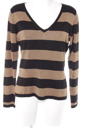 More & More V-Ausschnitt-Pullover schwarz-ocker Streifenmuster Casual-Look