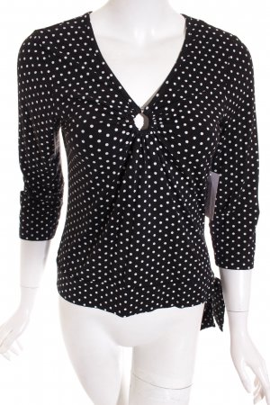 More & More V-Ausschnitt-Shirt schwarz-weiß Punktemuster klassischer Stil