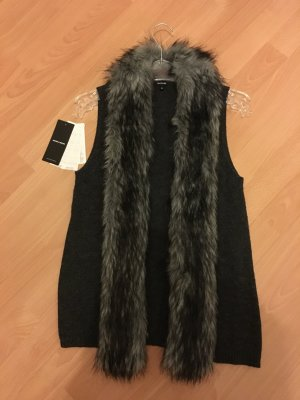 More & More Weste Fellweste Fellkragen dunkelgrau 34 XS Etikett Fake Fur