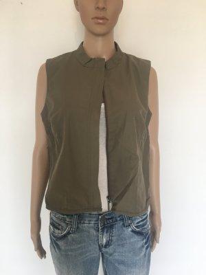 More&more Weste Khaki oliv 40 Reißverschluss minimalistisch schlicht Taschen Sommer Frühling cool lässig