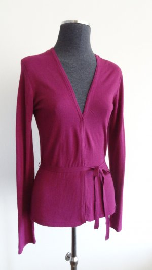 More & More Knitted Wrap Cardigan magenta viscose