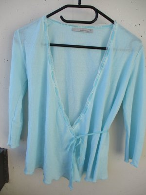 More & More Knitted Wrap Cardigan baby blue viscose