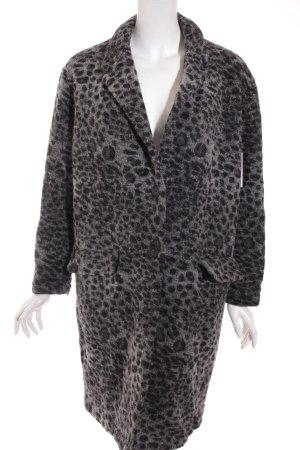 More & More Wollmantel schwarz-grau Leomuster extravaganter Stil