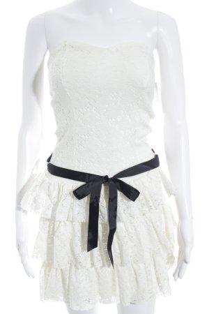 Morgan Vestido bandeau blanco puro estampado floral estilo romántico