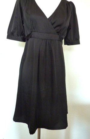 Morgan de Toi Satin Kleid Sommerkleid Babydoll schwarz V Ausschnitt