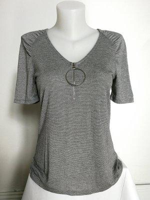 MORGAN DE TOI sexy Shirt in Silber mit tiefem V-Ausschnitt (Gr. S)