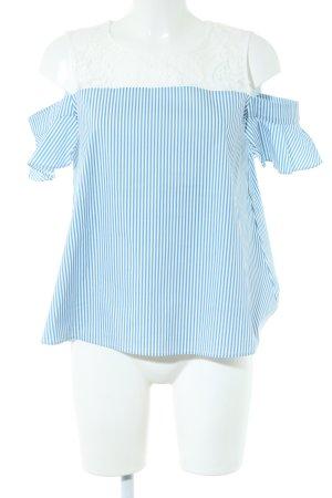 Morgan Kurzarm-Bluse blau-weiß Streifenmuster Casual-Look