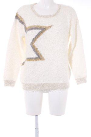 Morgan Rundhalspullover weiß-goldfarben grafisches Muster Casual-Look