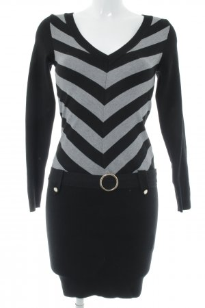 Morgan Strickkleid schwarz-grau Streifenmuster Street-Fashion-Look