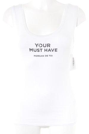 Morgan Tanktop weiß-schwarz Schriftzug gedruckt sportlicher Stil
