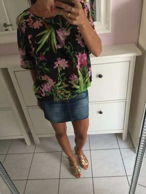 Morgan top Bluse Hibiskus 36 s transparent schwarz Blumen top Sommerbluse