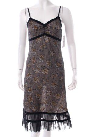 Morgan Trägerkleid schwarz-grau Blumenmuster Samtbandverzierung