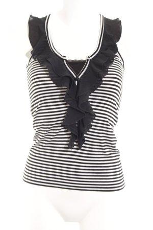 Morgan Top collo ad anello nero-bianco motivo a righe stile stravagante
