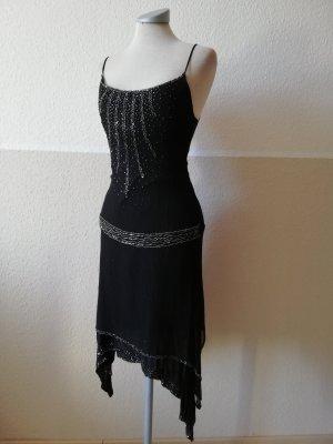 Morgen Zipfelkleid schwarz Seide Gr.34 XS Seidenkleid Sommerkleid Pailletten Paillettenkleid