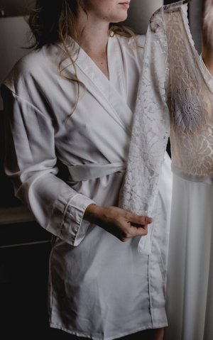 Hunkemöller Dressing Gown white-silver-colored