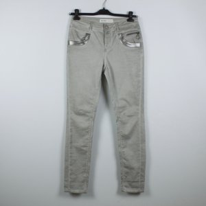 Mos Mosh Peg Top Trousers light grey-silver-colored cotton