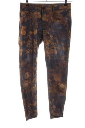 Mos Mosh Pantalone a sigaretta arancione chiaro-blu motivo floreale stile casual