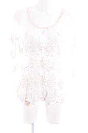 Mos Mosh Camicia a tunica bianco sporco motivo floreale look trasparente