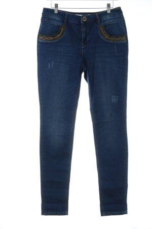 Mos Mosh Skinny Jeans dunkelblau-dunkelbraun Casual-Look