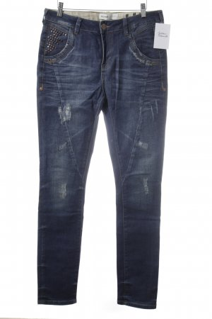 Mos Mosh Slim Jeans dunkelblau Used-Optik