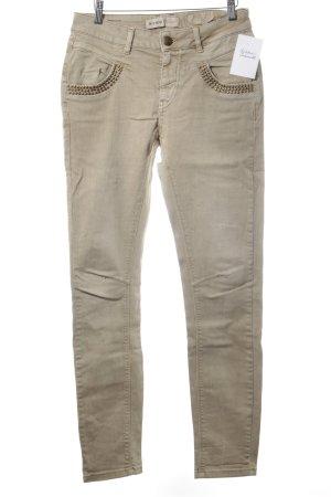 Mos Mosh Slim Jeans hellbeige Street-Fashion-Look