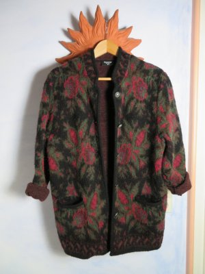 Moschen Bayern Trachten Strickjacke Vintage Rosen Schwarz Floral Langfloor Janker 100% Wolle S M L