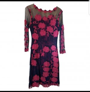 # MOSCHINO besonders raffiniertes Runway Kleid NP 600 Euro #stretchiges Kleid mit Blumen & Spitze # D 40/D 42