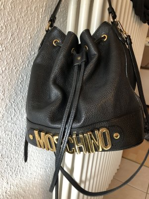 Moschino Pouch Bag black-gold-colored leather