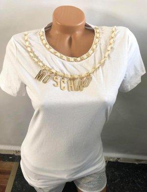 Moschino Bluse in gr M Farbe weiss Gold Kette metalbuchstaben