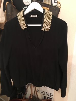 Moschino Bluse - schwarz Perlen - edel 399€ Gr 38