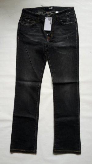 MOSCHINO Bootcut JEANS schwarz gerade geschnitten STONE WASHED Gr W26 dt 36 NEU