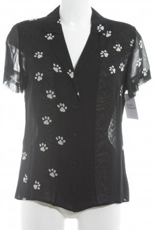 Moschino Cheap and Chic Kurzarm-Bluse schwarz-weiß Animalmuster Casual-Look