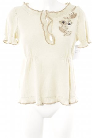 Moschino Cheap and Chic Kurzarmpullover creme-beige Kuschel-Optik