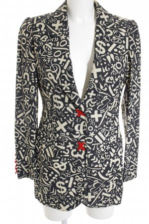 Moschino Cheap and Chic Long-Blazer dunkelblau-wollweiß abstraktes Muster
