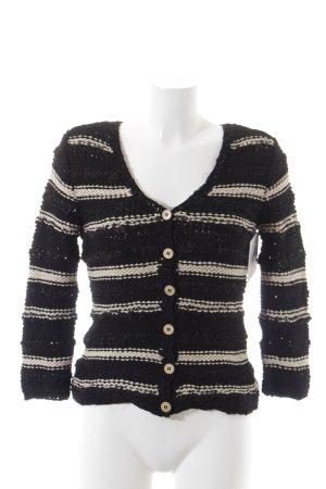 Moschino Cheap and Chic Cache-cœur en tricot noir-beige clair coton