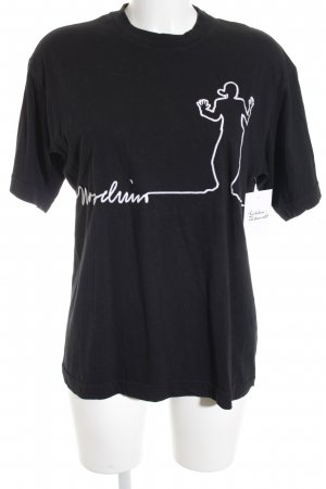 Moschino Cheap and Chic T-Shirt schwarz Schriftzug gestickt schlichter Stil