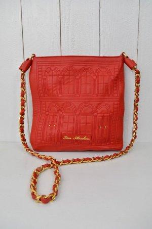 MOSCHINO Damen Tasche Umhängetasche Leder-Imitat Glieder Rot Abgesteppt