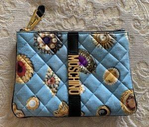 Moschino Denim Brooch Clutch blue