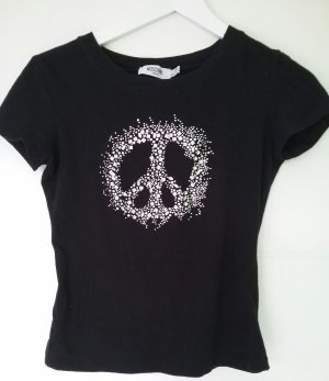 MOSCHINO Donna ,Stretch T-Shirt , Peace ,Glitzersteine ,Gr 36