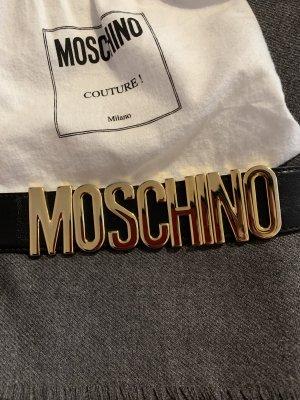 Moschino Lederen riem zwart-goud Leer