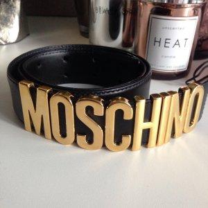 Moschino Gürtel Gold schwarz Leder