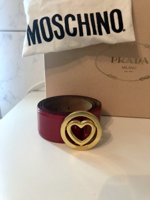 Moschino Leather Belt red-gold-colored