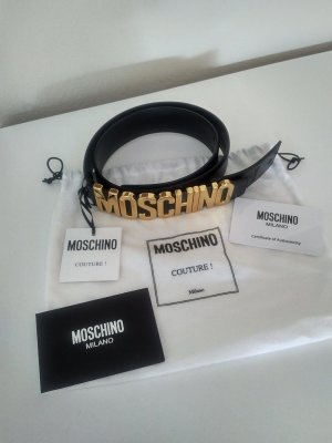 Moschino Leather Belt black leather