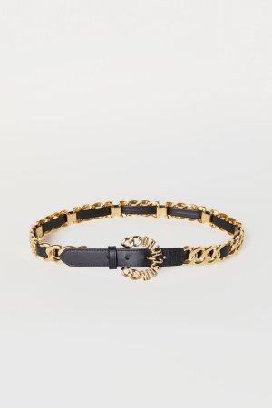 MOSCHINO H&M, XS/ S Ledergürtel mit goldener Kette