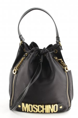 "Moschino Borsa con manico ""Logo Medium Nylon Bucket Bag Black"" nero"
