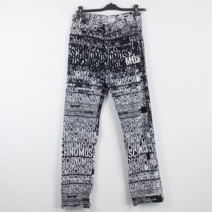 MOSCHINO High Waist Jeans Gr. 32 schwarz weiß Schriftzug (18/9/526)